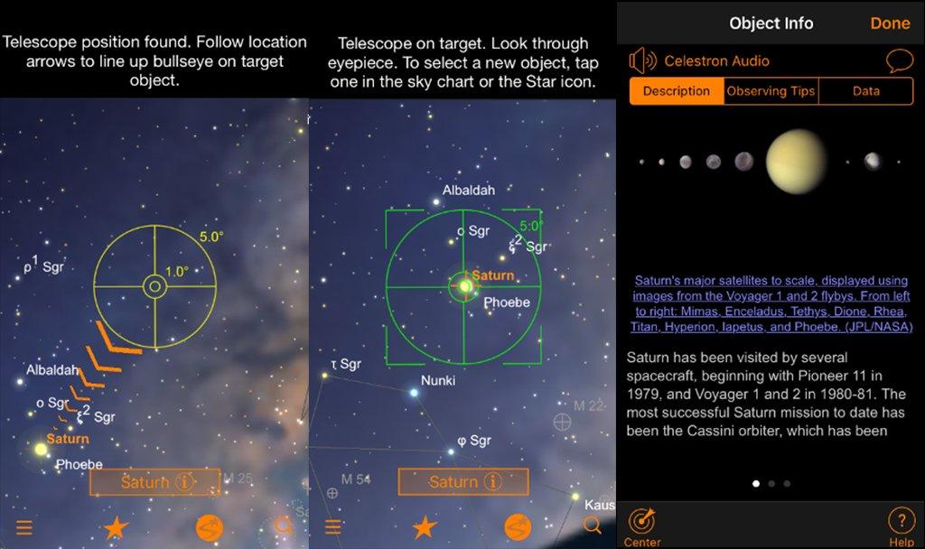Starsense Explorer Menüführung